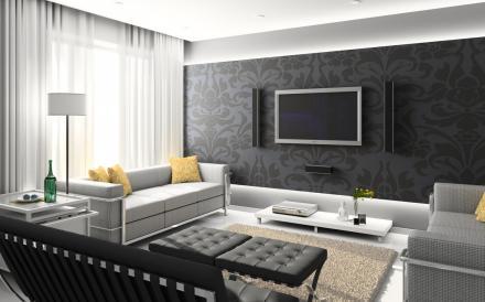 Интерьер зала в панельном доме