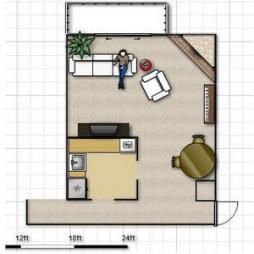 Расстановка мебели в гостиной.  Схемы, фото, объяснения.