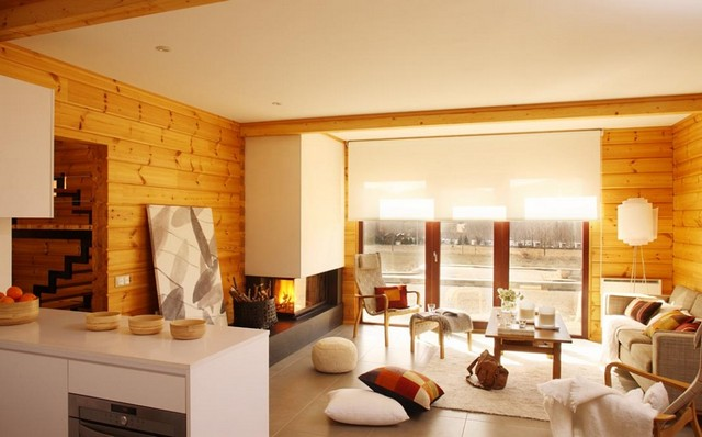 Интерьер деревянного дома фото
