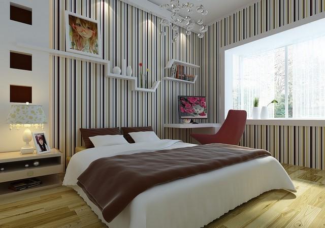 Спальня в полоску фото